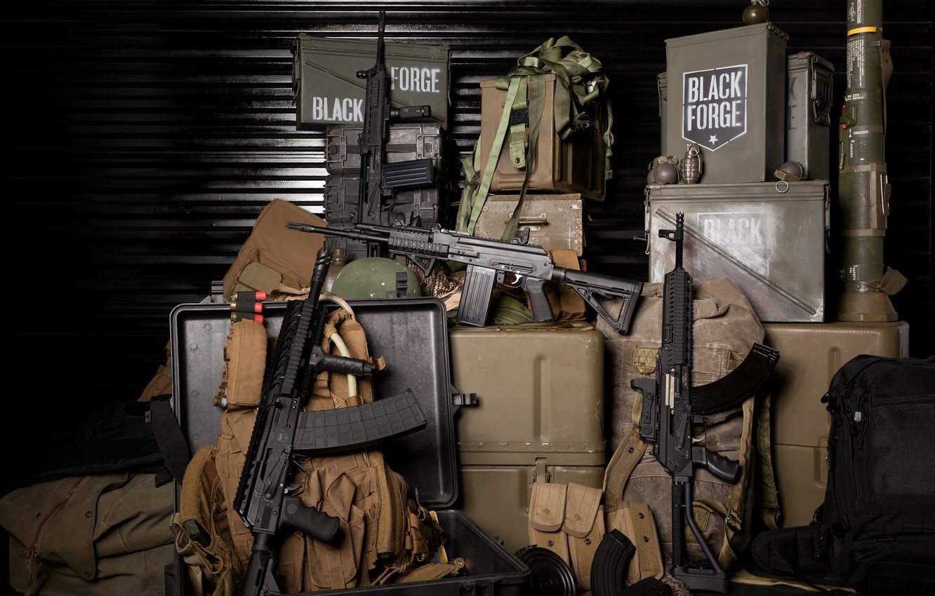 Photo wallpaper weapons, composition, boxes, bags, grenades, stores, ammunition, machines, military, assault rifles, Boar