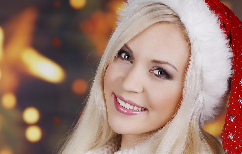 Photo wallpaper girl, smile, maiden, cap, gray-eyed, Ocharovanie