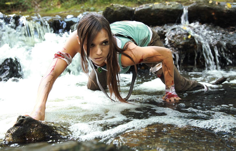 Photo wallpaper water, girl, stones, blood, hair, the game, headband, crawling, ponytail, Lara Croft, Tomb raider, Charly …
