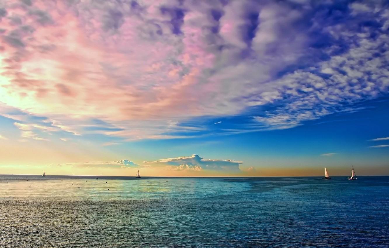 Photo wallpaper SEA, HORIZON, The OCEAN, The SKY, CLOUDS, COLOR, MAST, SAILS, YACHTS, DAL