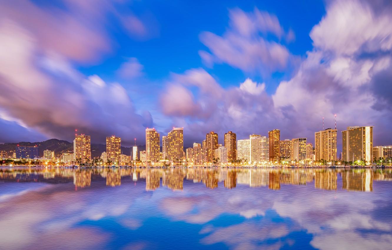 Photo wallpaper sea, the sky, water, clouds, mountains, lights, reflection, coast, home, the evening, lights, Hawaii, USA, …