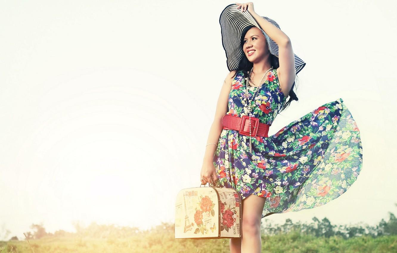 Photo wallpaper girl, suitcase, hat