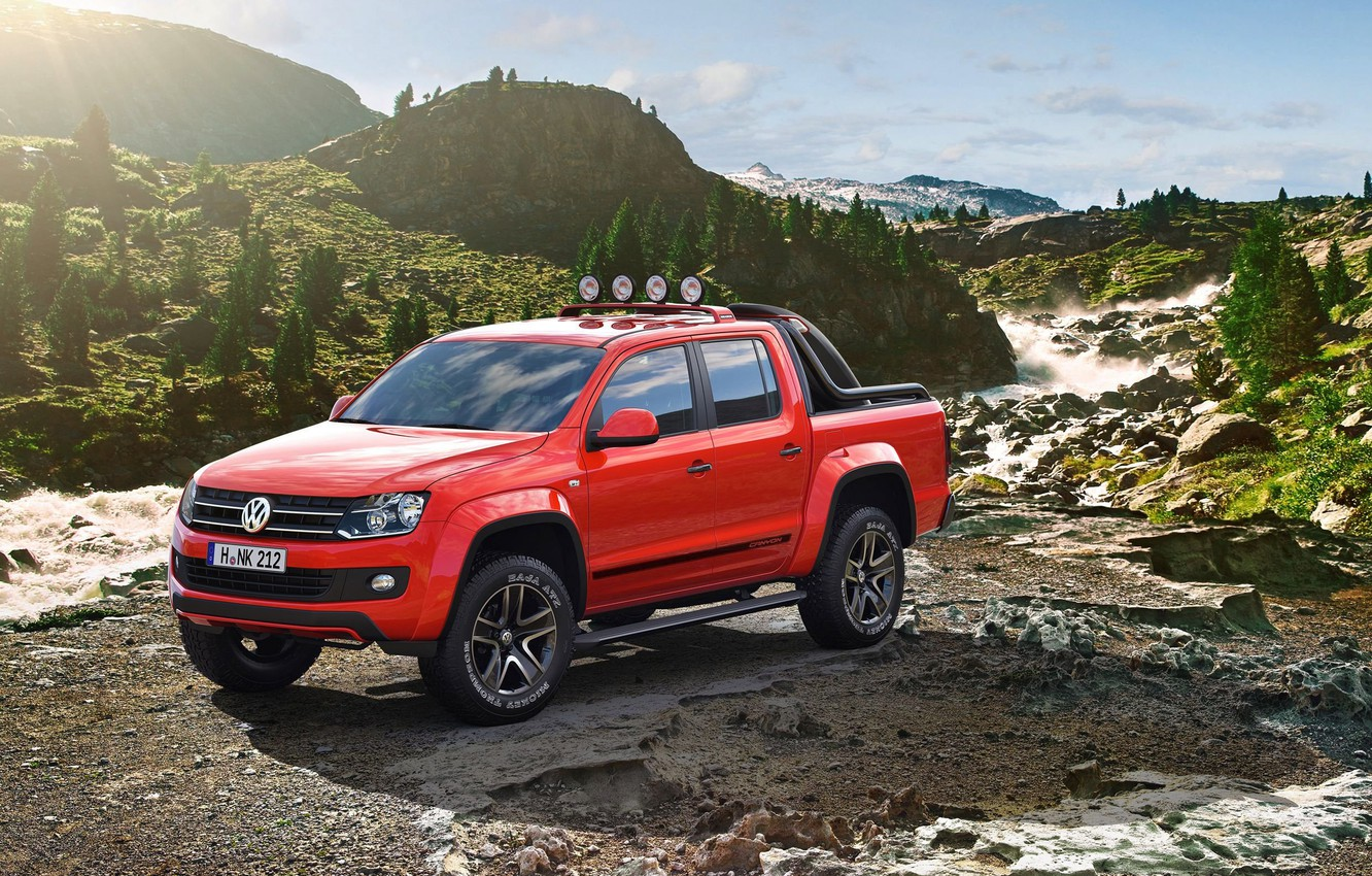 Photo wallpaper mountains, stones, tuning, Volkswagen, drives, Amarok, show car, exotic painting, extra lights, Canyon