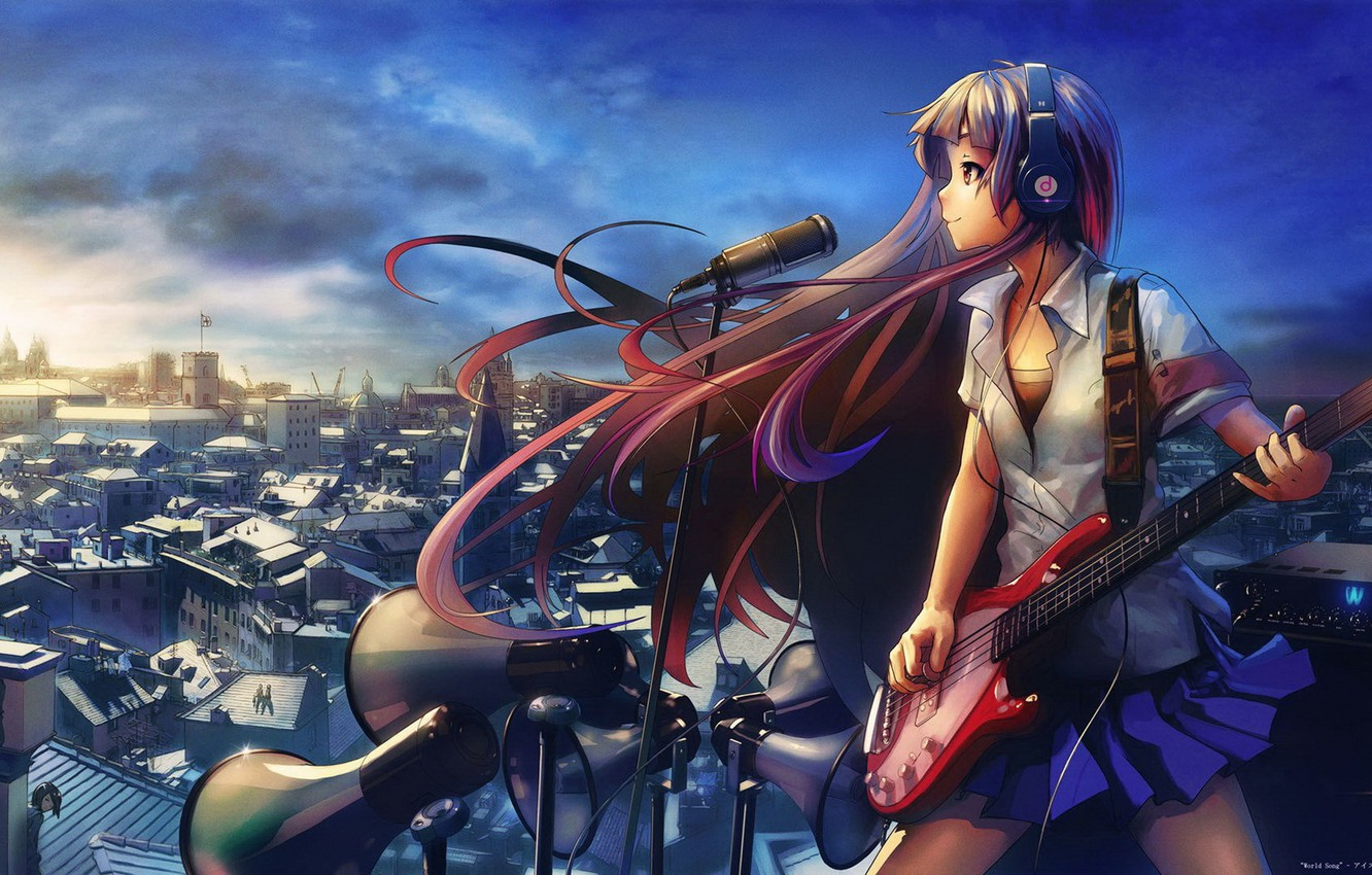Photo wallpaper CITY, GUITAR, ROOFTOP, MICROPHONE