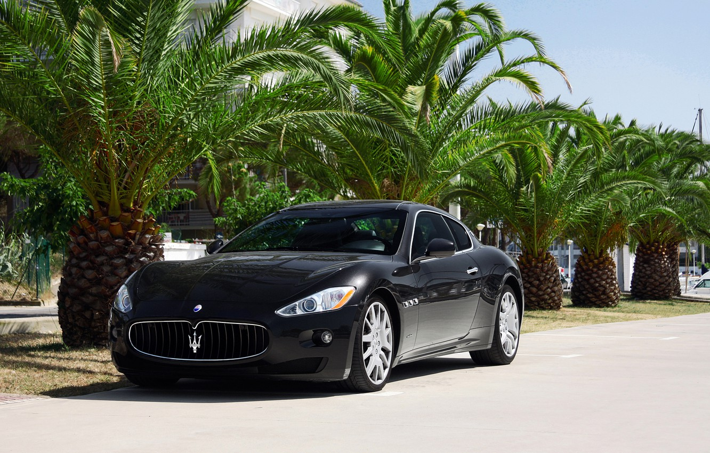 Photo wallpaper Maserati, GranTurismo, Black, Palms