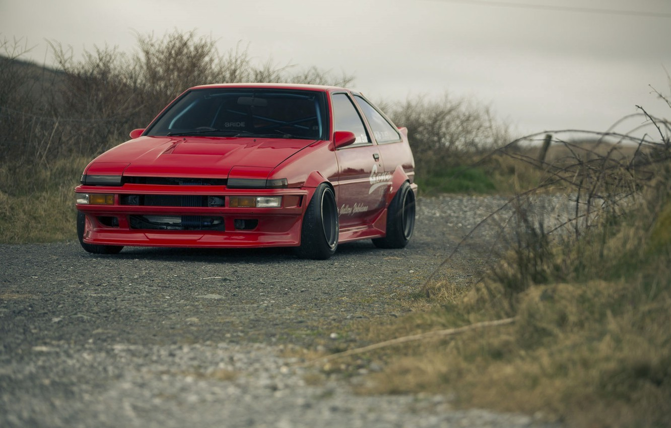 Photo wallpaper Red, Red, Toyota, AE86, Toyota, Corolla, Corolla