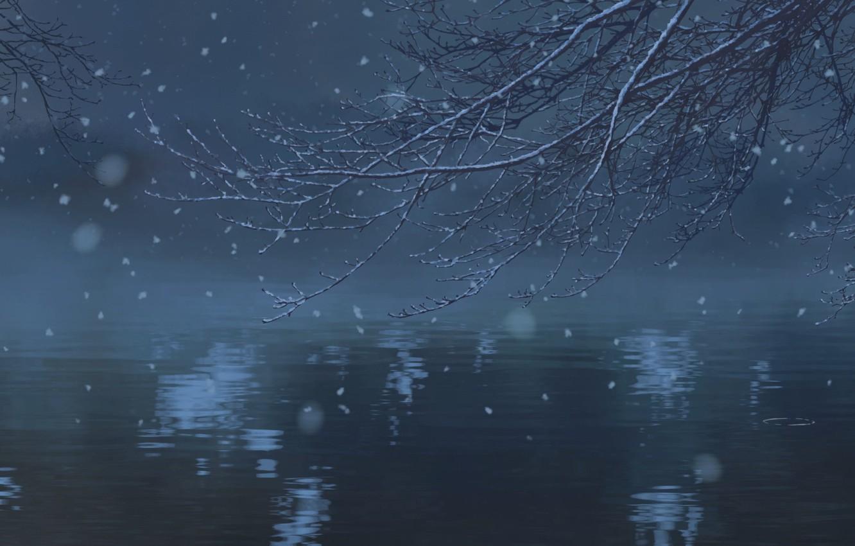 Photo wallpaper Water, Lake, Trees, Snow, Branch, Anime, Twilight, Makoto Xingkai, Anime, Water, Snow, Wallpaper, Twilight, Lake, …