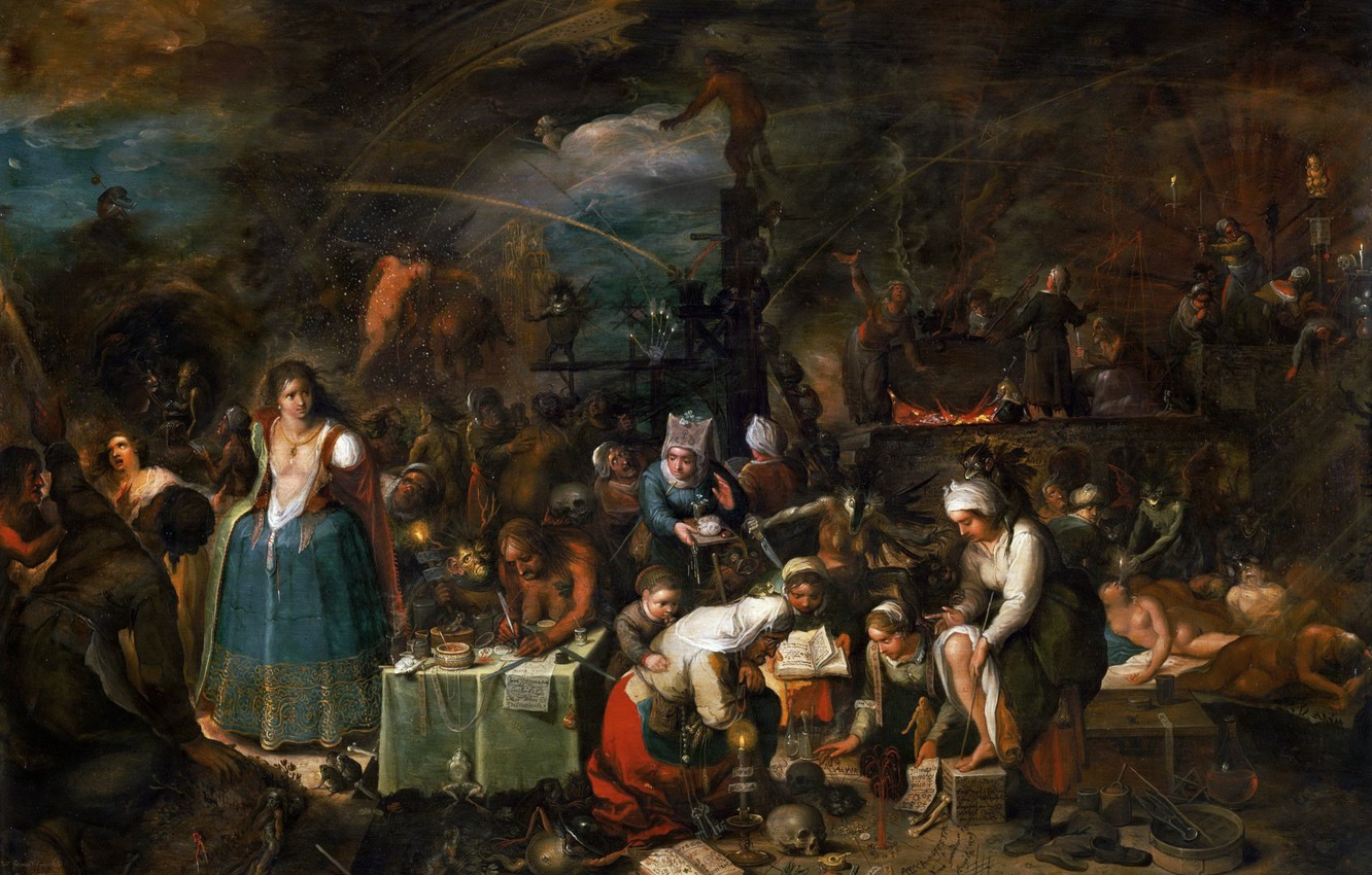 Photo wallpaper candles, hell, skull, keys, toad, witches, Sabbath, spells, Frans Franken II, 1607, sacrifice, Witch coven, ...