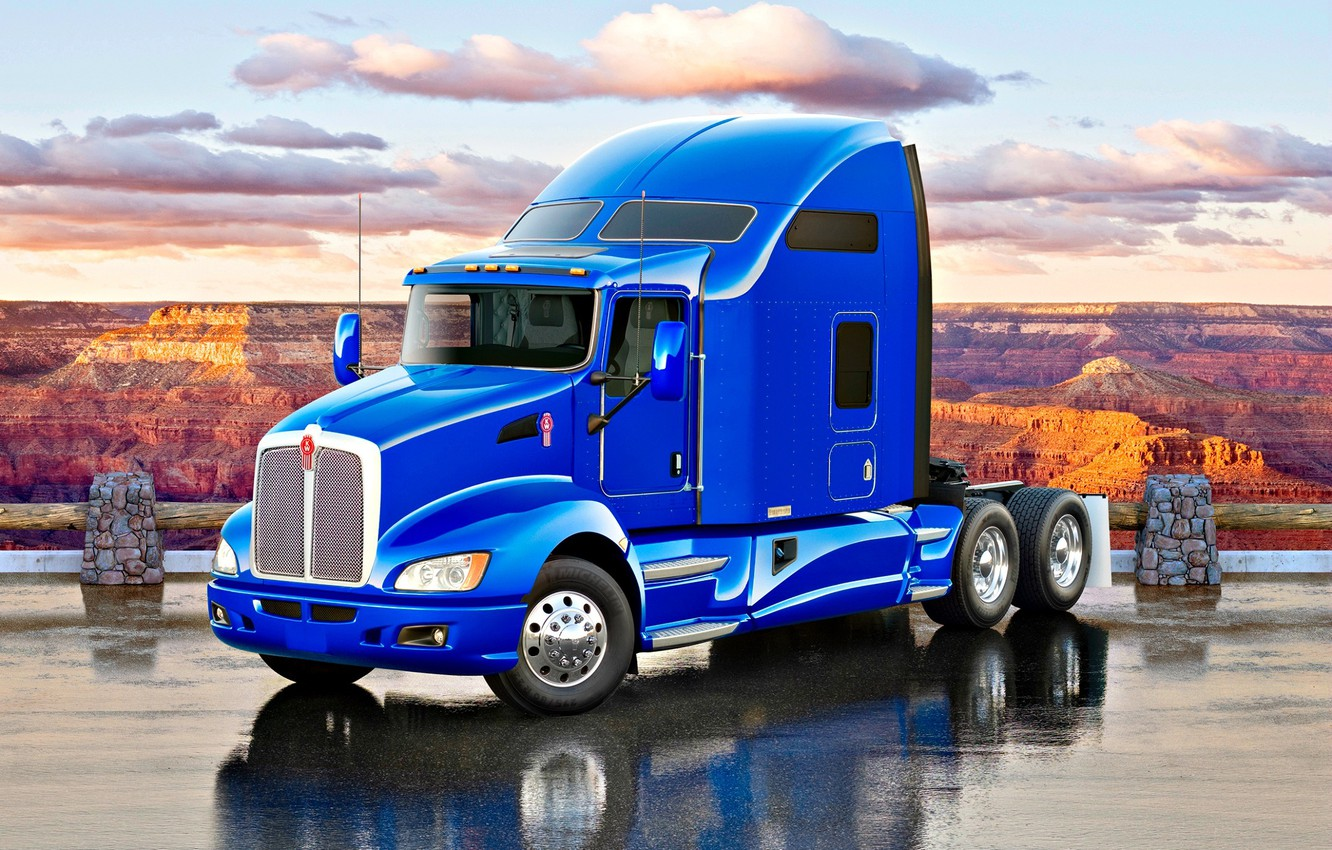 Photo wallpaper road, Truck, canyon, blue, Truck, Tractor, Kenworth, Kenworth T660, American truck, T660