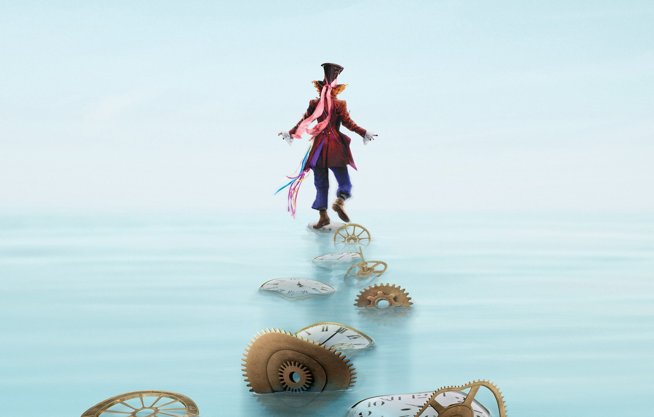 Photo wallpaper water, Johnny Depp, watch, hat, fantasy, costume, gear, Johnny Depp, poster, cylinder, character, spare parts, …