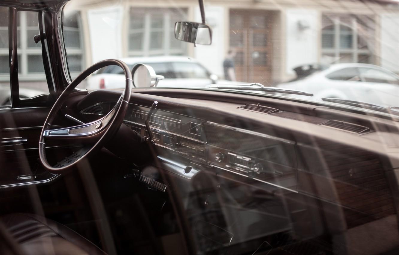 Photo wallpaper car, panel, devices, the wheel, car, salon, retro, old