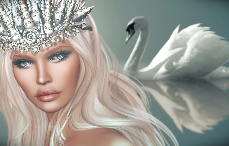 Photo wallpaper look, girl, background, hair, crown, Swan