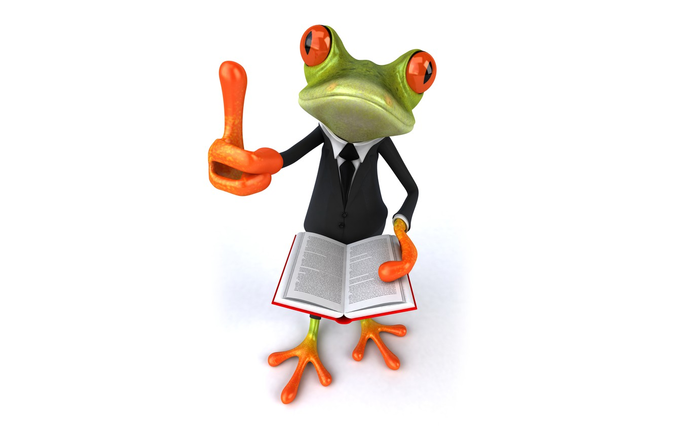 Photo wallpaper frog, frog, book, funny, suit
