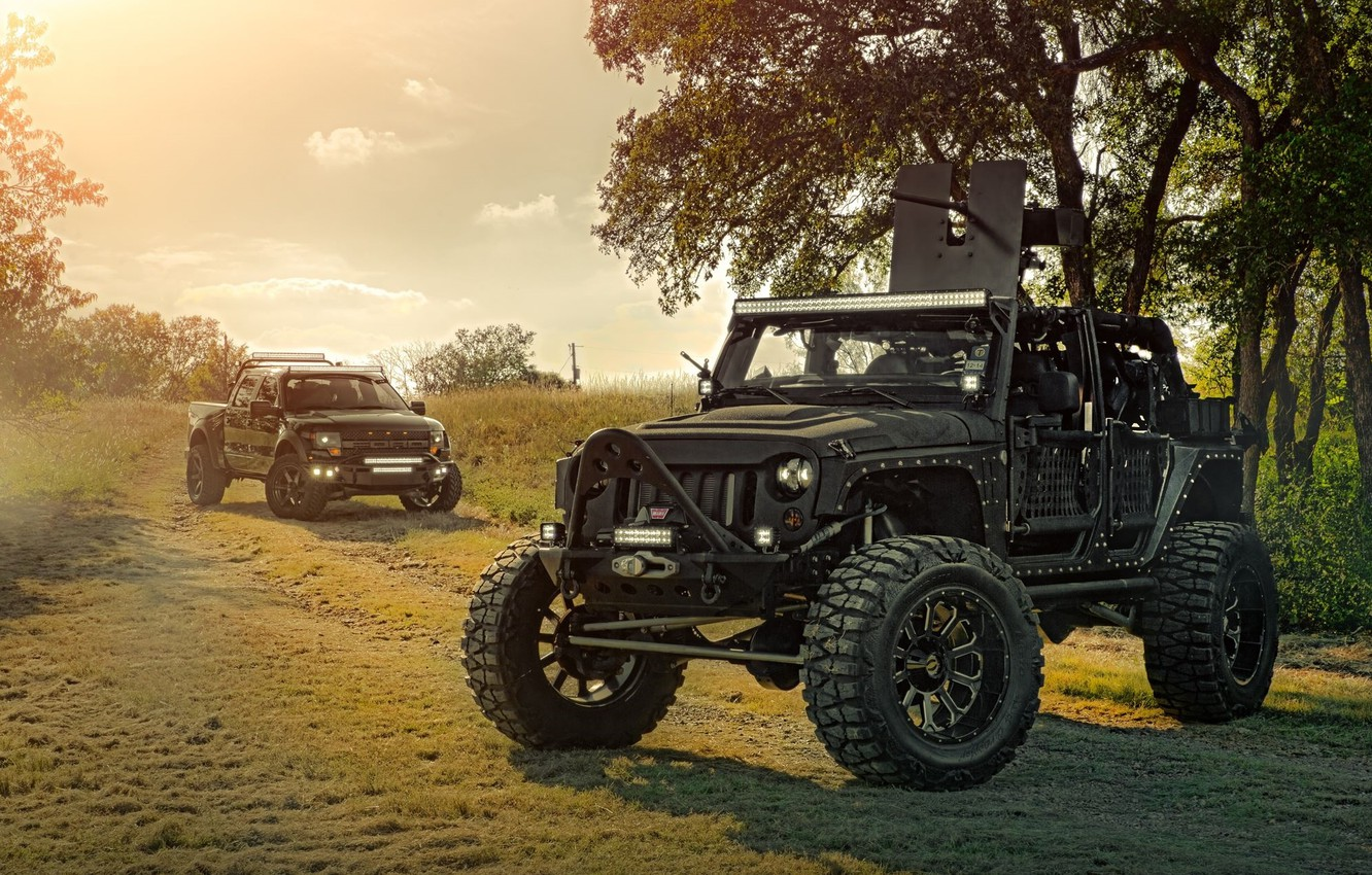 Photo wallpaper Ford, Nature, Cars, Front, Wrangler, Jeep, Off Road, F150, FullMetalGunner