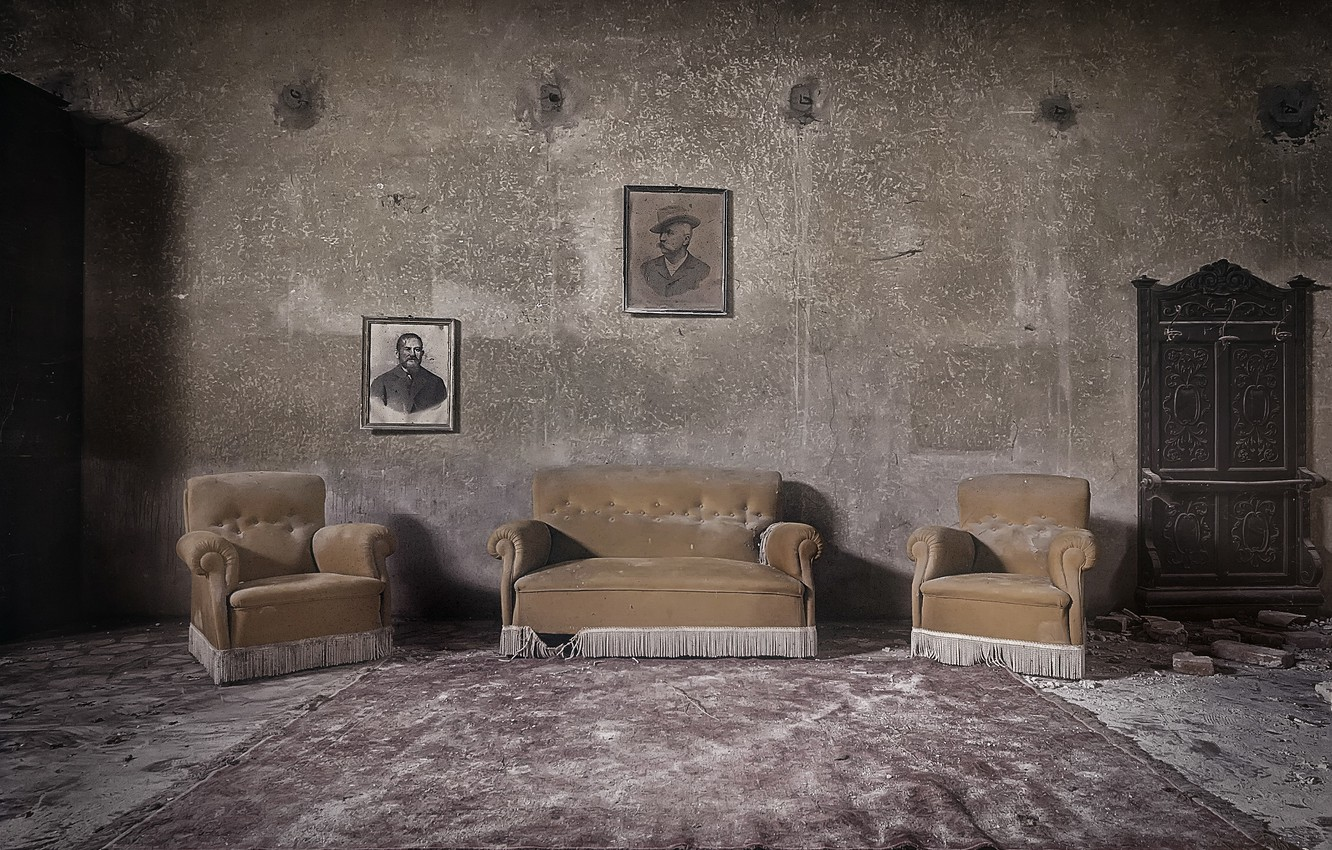 Photo wallpaper room, sofa, pictures