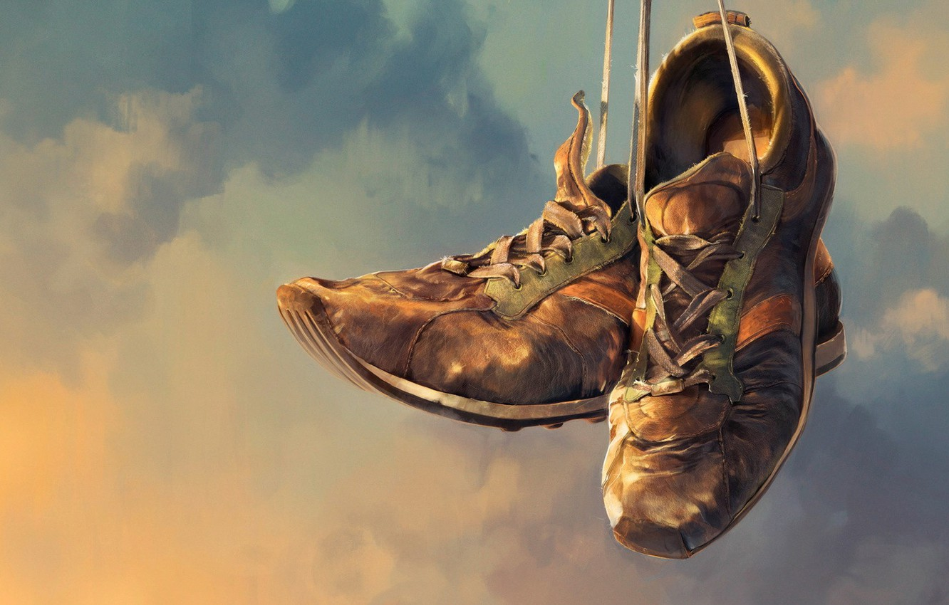Photo wallpaper clouds, sneakers, 157