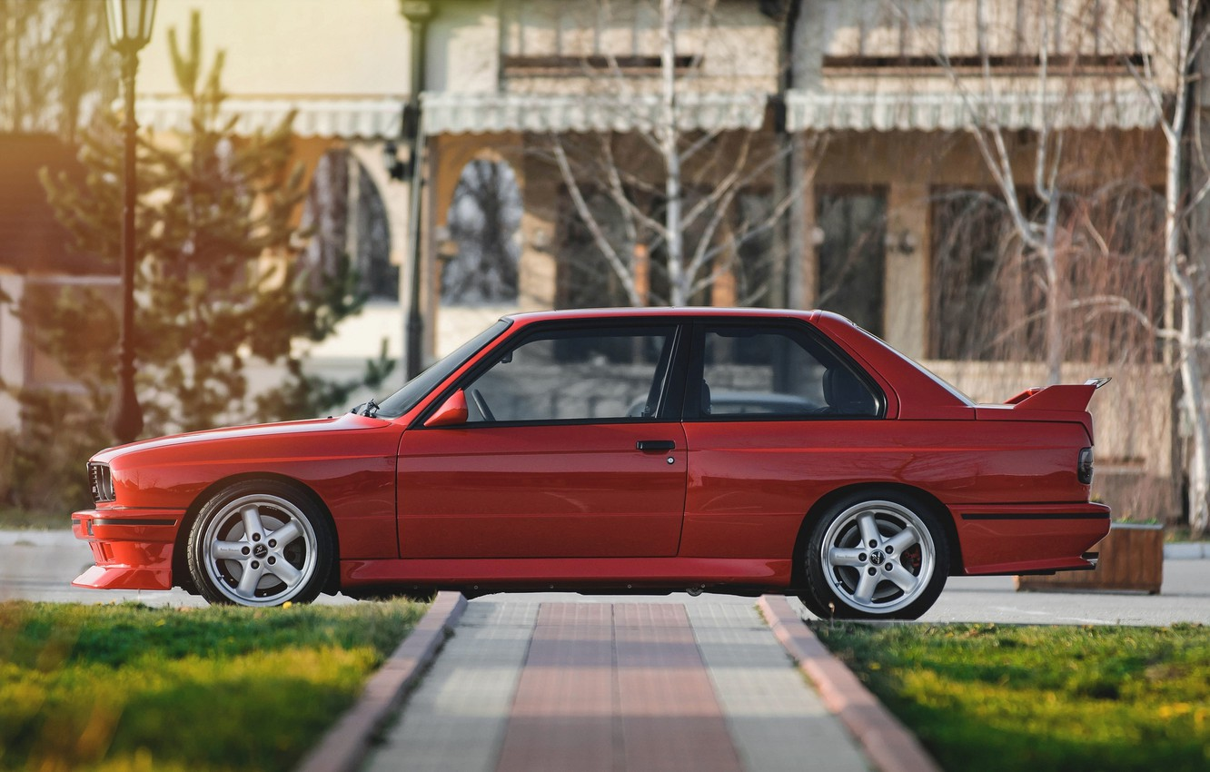 Photo wallpaper red, BMW, BMW, red, side, side, E30, E30
