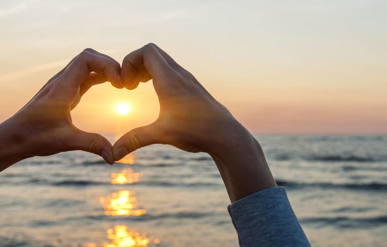 Photo wallpaper sea, water, the sun, love, sunset, glare, river, background, the ocean, widescreen, Wallpaper, mood, heart, …
