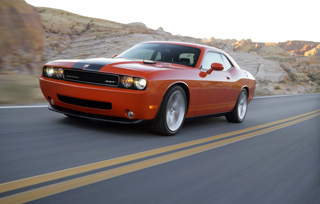 Photo wallpaper Auto, Road, Orange, Dodge, SRT8, Challenger, Coupe, The front, In motion