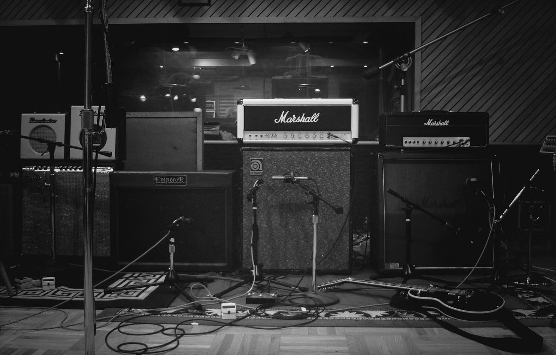 Photo wallpaper photo, Wallpaper, b/W, speakers, Studio, equipment, music, the recorder, microphones
