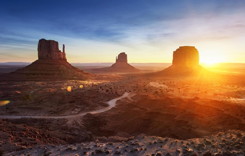 Photo wallpaper mountains, desert, valley, landscape, panorama, arizona, monument valley