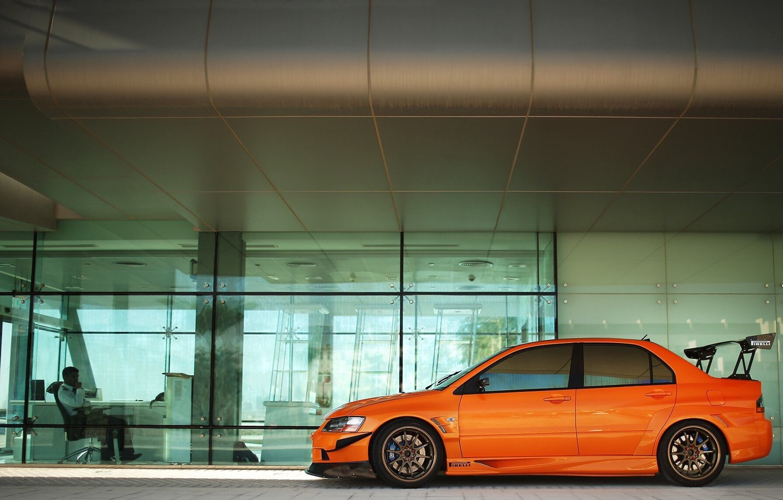 Photo wallpaper car, machine, orange, tuning, office, Mitsubishi, tuning, lancer, evolution, orange, Mitsubishi, pirreli