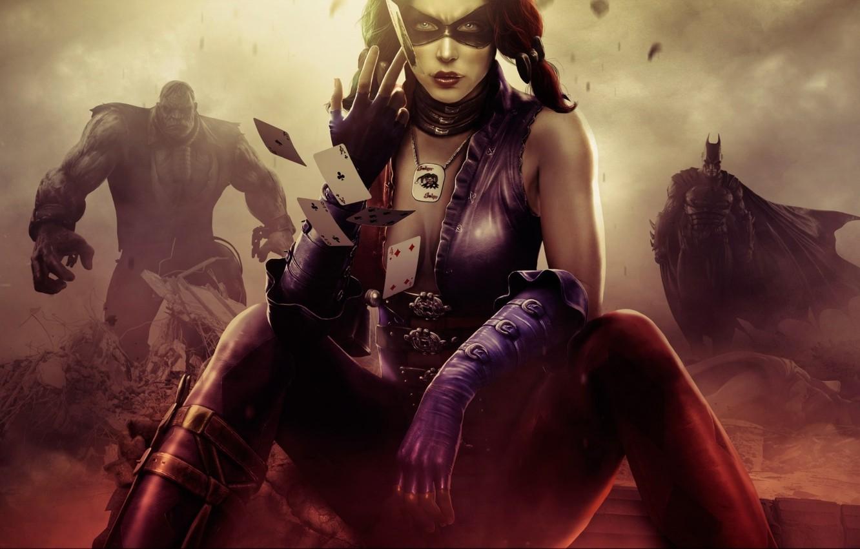 Photo wallpaper Batman, fighting, Harley Quinn, Injustice: Gods Among Us, Solomon Grundy