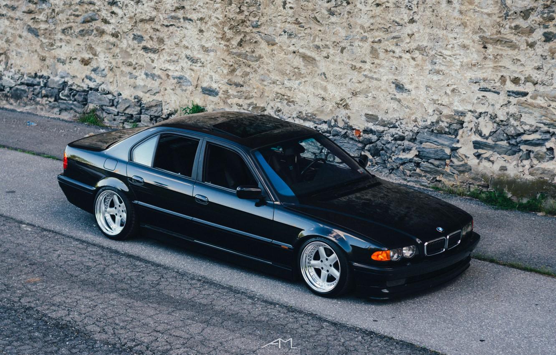 Photo wallpaper BMW, stance, E38