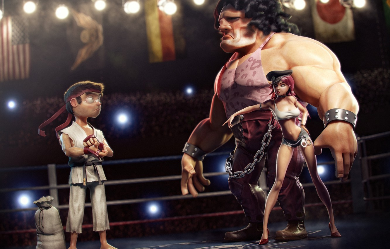 Photo wallpaper situation, the ring, fighters, street fighter, situations