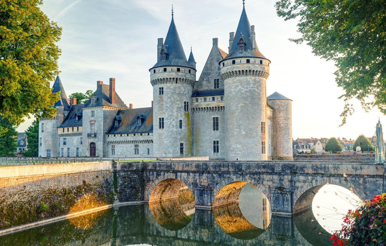 Photo wallpaper bridge, river, castle, bridge, vintage, castle