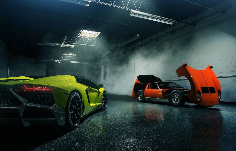 Photo wallpaper Lamborghini, Orange, Green, Miura, Aventador, Supercars, LP720-4, 50 Anniversario