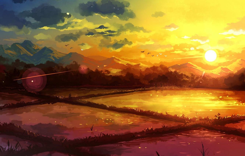 Photo wallpaper the sky, water, clouds, sunset, mountains, birds, nature, field, art, natsukijia, jia