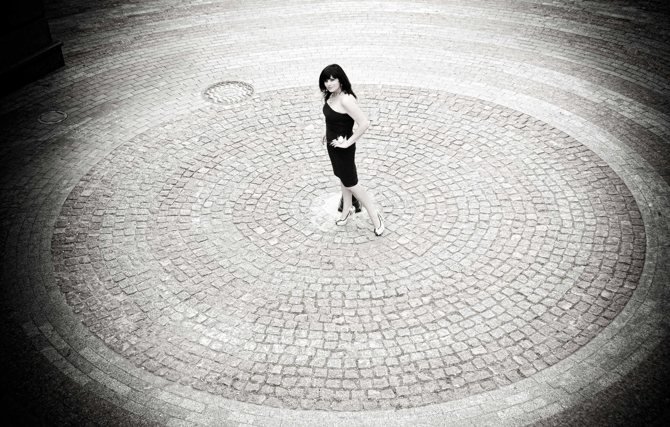 Photo wallpaper girl, tile, round, brunette, area, shoes, legs, is, black and white, posing, dress