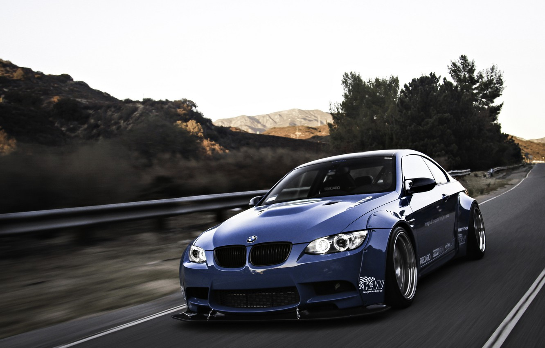 Photo wallpaper road, blue, bmw, BMW, road, blue, angel eyes, e92, angel eyes