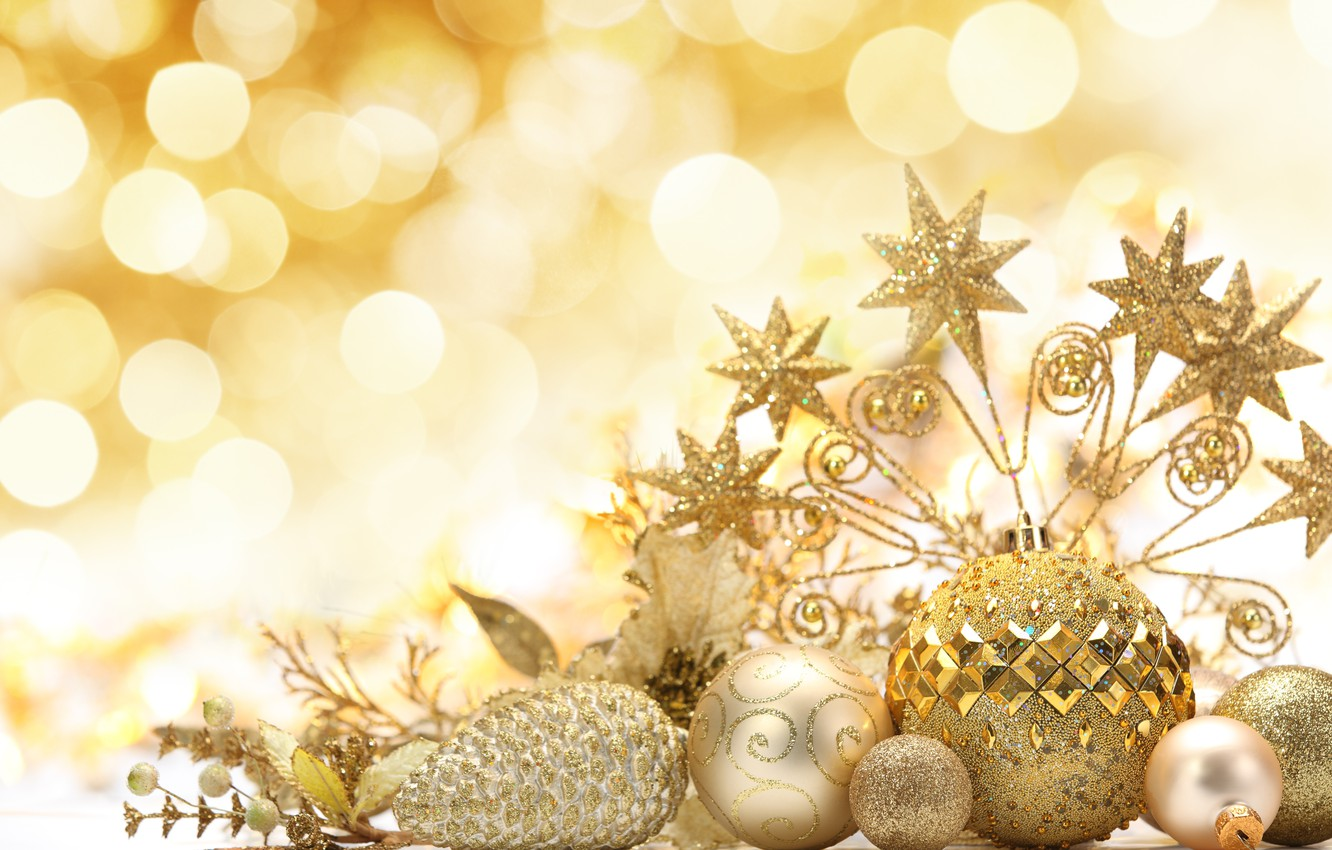 Photo wallpaper stars, balls, decoration, balls, patterns, toys, sequins, New Year, Christmas, the scenery, Christmas, bumps, gold, …