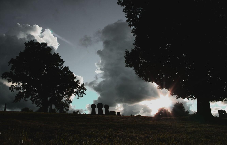 Photo wallpaper the sky, sunset, cemetery