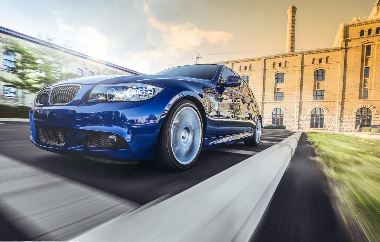 Photo wallpaper BMW, BMW, before, blue, blue, Sport, E90, The 3 series, 335i M