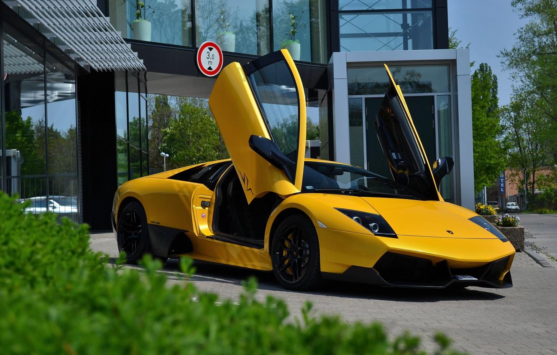 Photo wallpaper Lamborghini, Murcielago, SuperVeloce, Yellow, LP670-4 SV