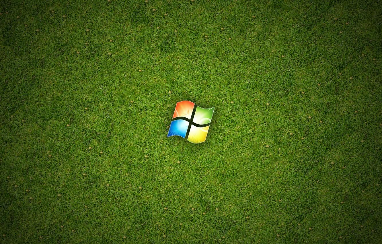 Photo wallpaper Grass, Windows, Logo, Hi-Tech