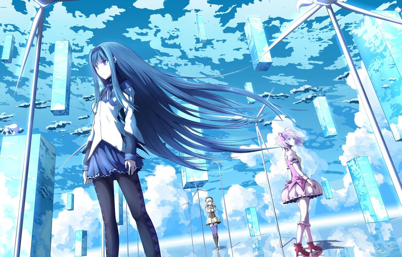 Photo wallpaper the sky, clouds, girls, anime, art, mahou shoujo madoka magica, homura akemi, madoka kaname, Tomoe …