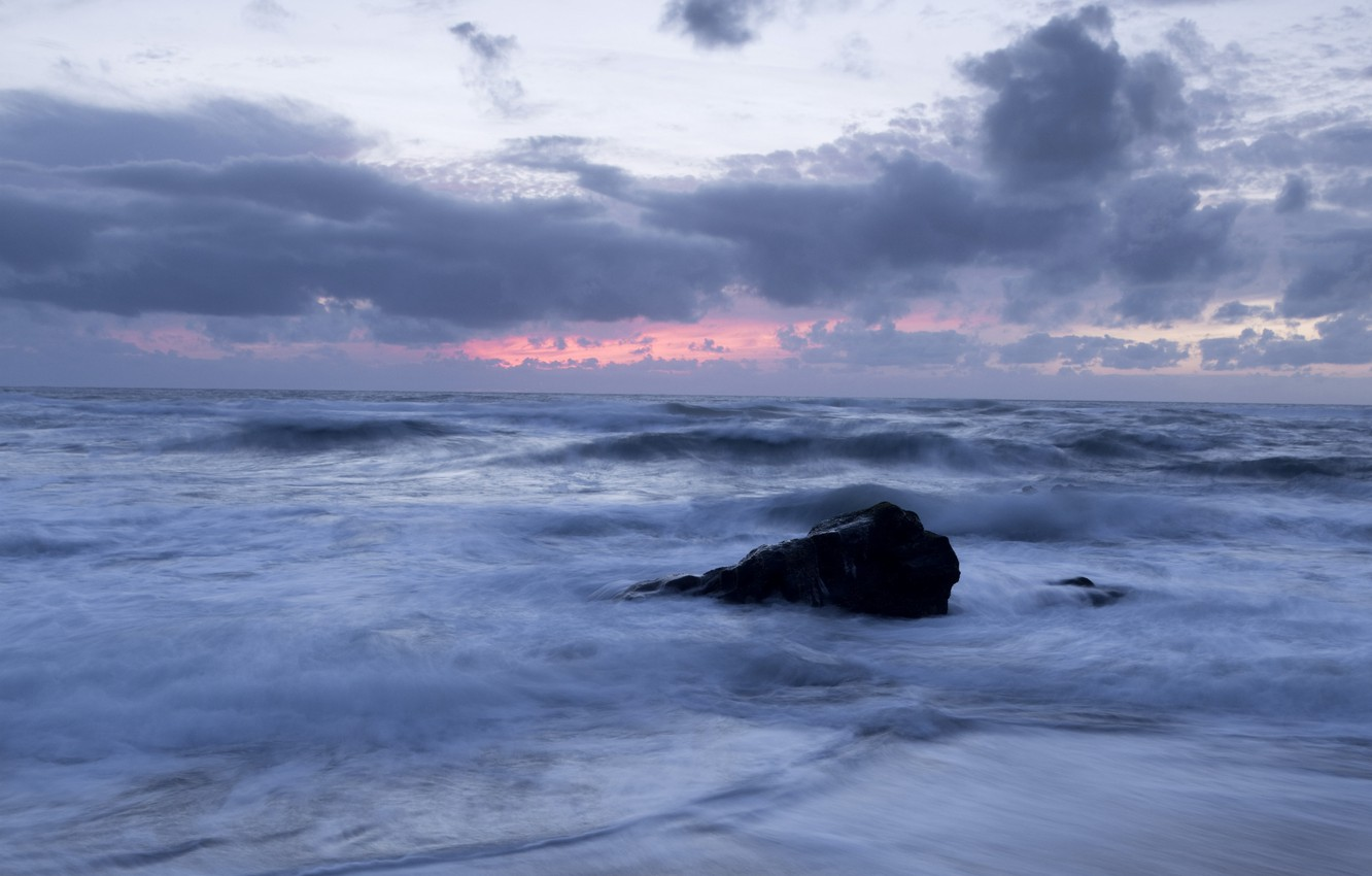 Photo wallpaper sea, the sky, clouds, sunset, shore, stone, the evening, surf, Portugal