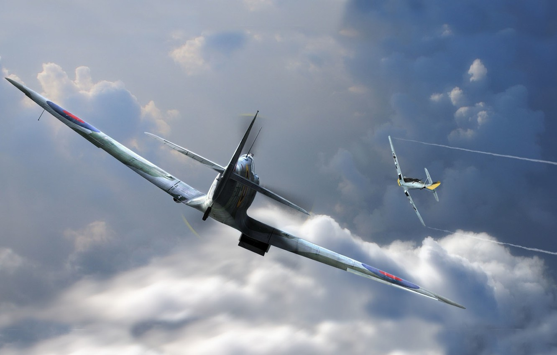 Photo wallpaper aviation, graphics, art, Spitfire, bf-109, emil, man and machine