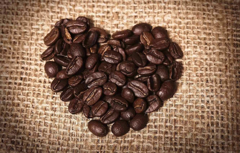 Photo wallpaper heart, coffee, grain, burlap