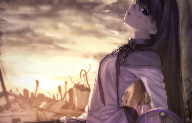 Photo wallpaper the sky, girl, clouds, sunset, anime, tears, art, form, ruins, schoolgirl, mahou shoujo madoka magica, …