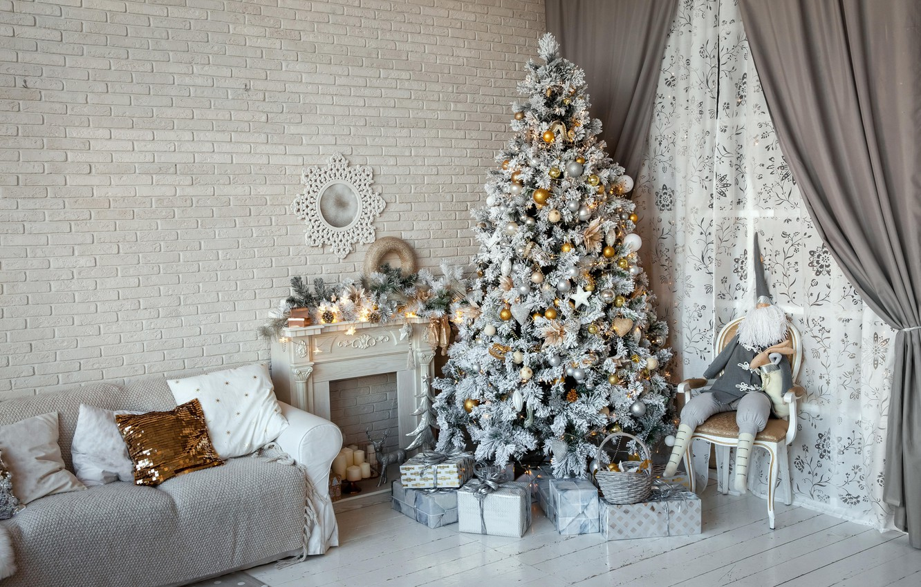 Photo wallpaper sofa, wall, toys, tree, interior, Christmas, gifts, New year, tree, fireplace, curtains, dwarf