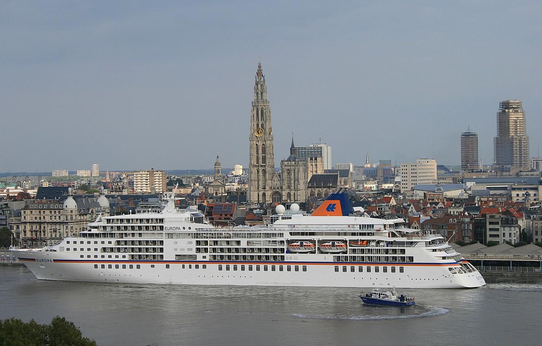 Photo wallpaper the city, boat, Belgium, liner, Belgium, cruise, cruise liner, Antwerp, Antwerp, the river Scheldt, Scheldt …