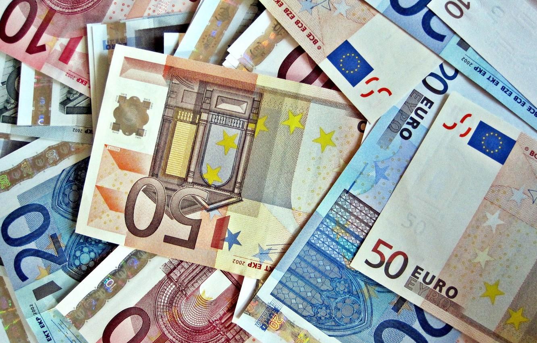 Photo wallpaper macro, money, Euro, currency, bills, euro