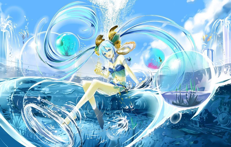 Photo wallpaper water, girl, anime, art, Vocaloid