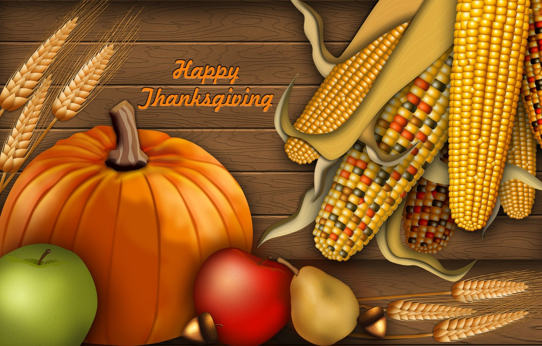 Photo wallpaper autumn, collage, apples, corn, harvest, pumpkin, postcard, thanksgiving