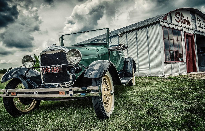 Photo wallpaper car, ford, vintage, old, garage
